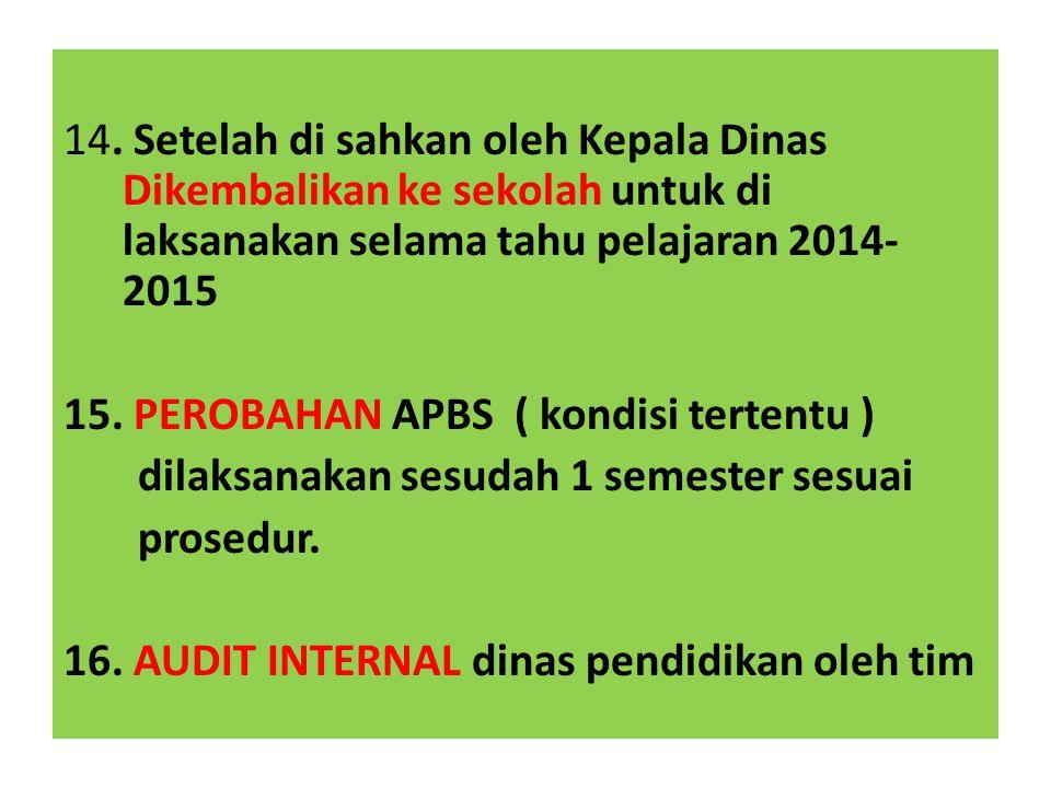 14. Setelah di sahkan oleh Kepala Dinas Dikembalikan ke sekolah untuk di laksanakan selama tahu pelajaran 2014-2015