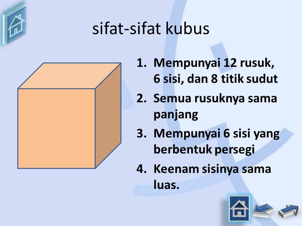 sifat-sifat kubus Mempunyai 12 rusuk, 6 sisi, dan 8 titik sudut