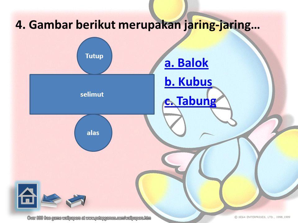 4. Gambar berikut merupakan jaring-jaring… a. Balok b. Kubus c. Tabung