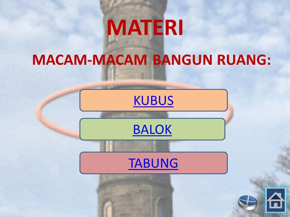 MATERI MACAM-MACAM BANGUN RUANG: KUBUS BALOK TABUNG