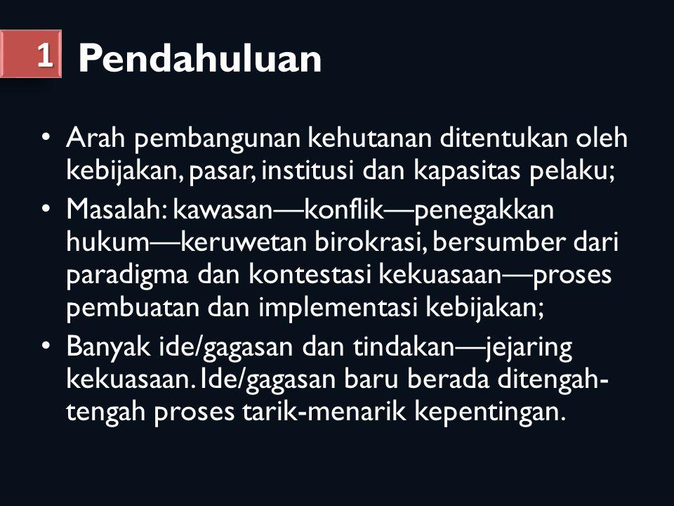 Pendahuluan 1. Arah pembangunan kehutanan ditentukan oleh kebijakan, pasar, institusi dan kapasitas pelaku;