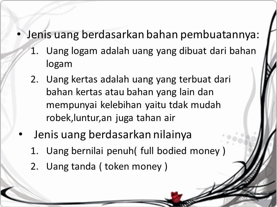 Jenis uang berdasarkan bahan pembuatannya:
