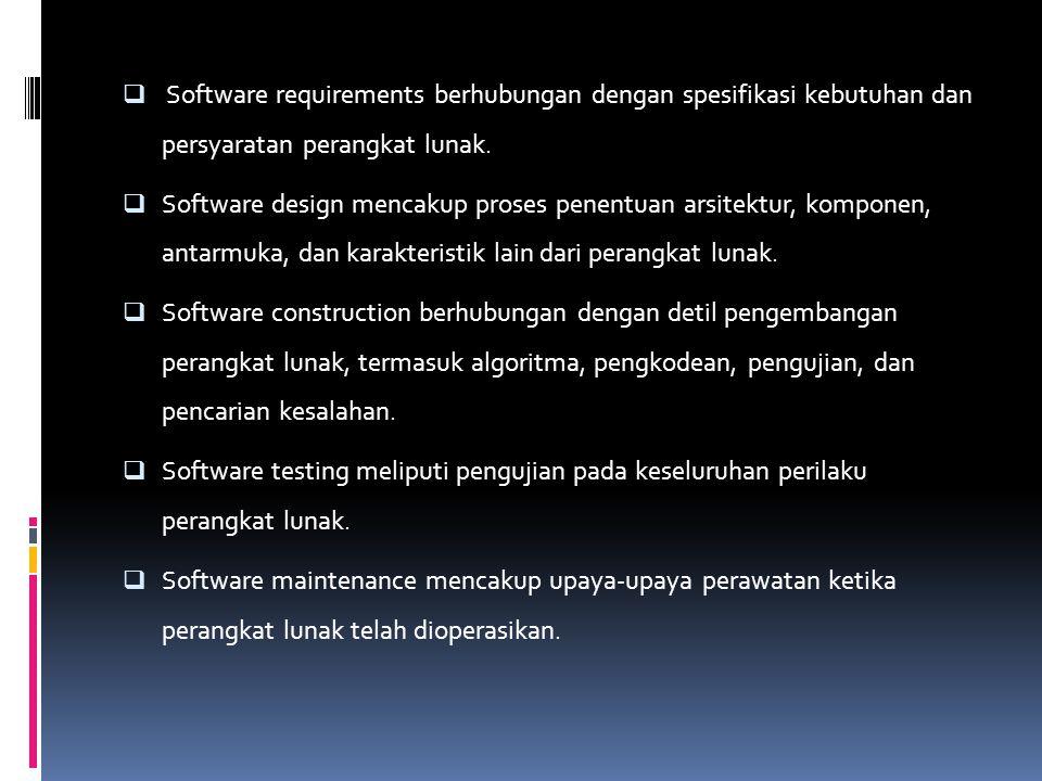 Software requirements berhubungan dengan spesifikasi kebutuhan dan persyaratan perangkat lunak.