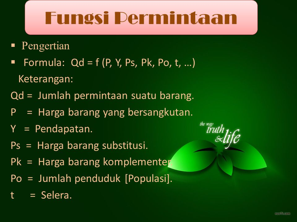 Fungsi Permintaan Pengertian Formula: Qd = f (P, Y, Ps, Pk, Po, t, …)
