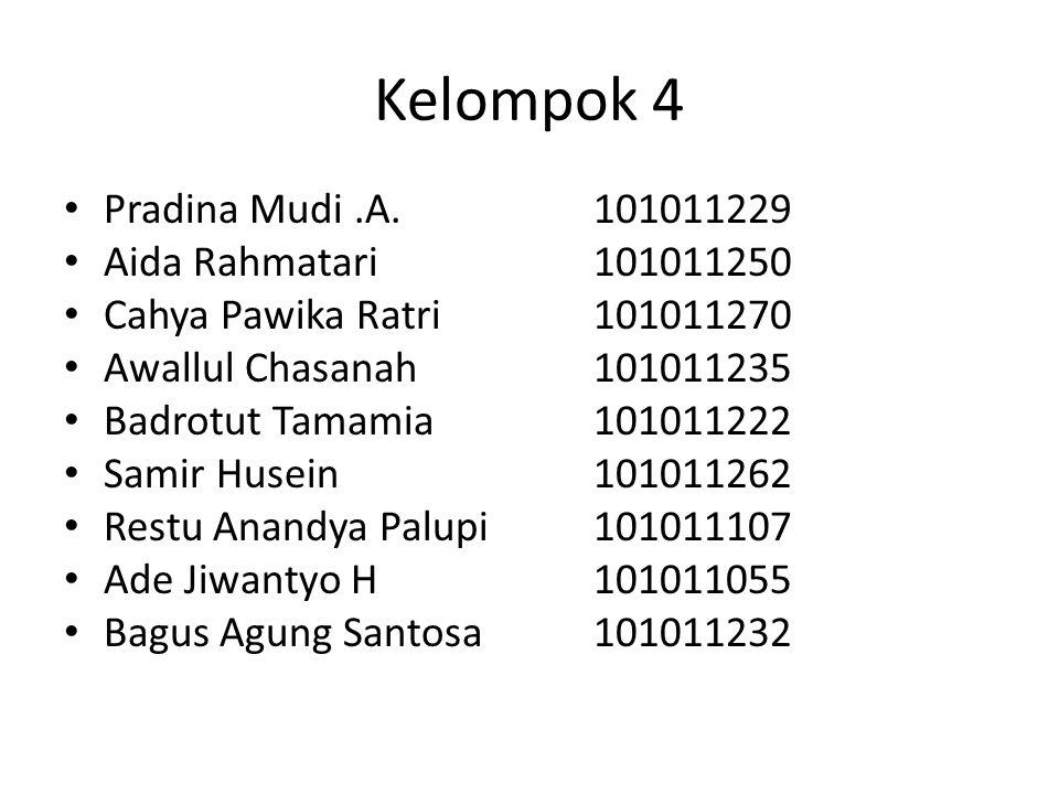 Kelompok 4 Pradina Mudi .A. 101011229 Aida Rahmatari 101011250