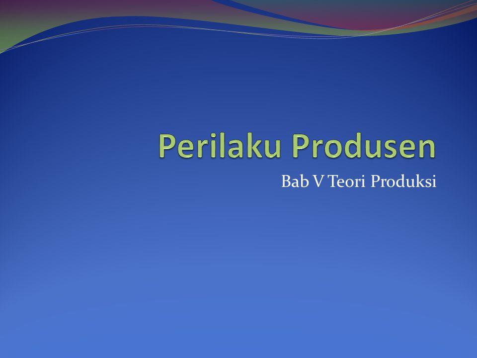 Perilaku Produsen Bab V Teori Produksi
