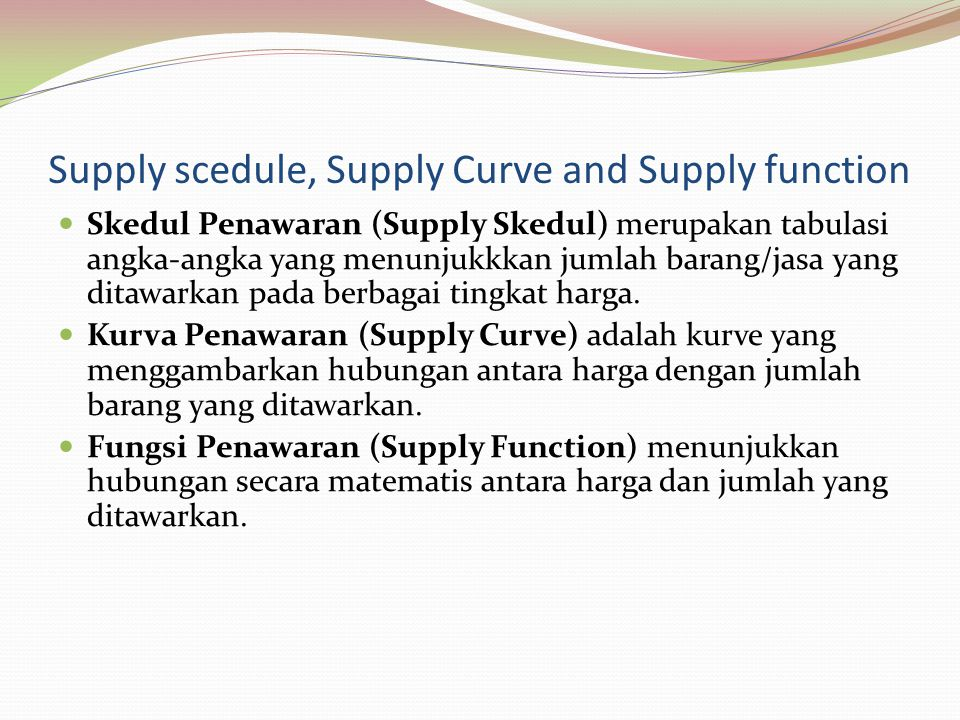 Supply scedule, Supply Curve and Supply function