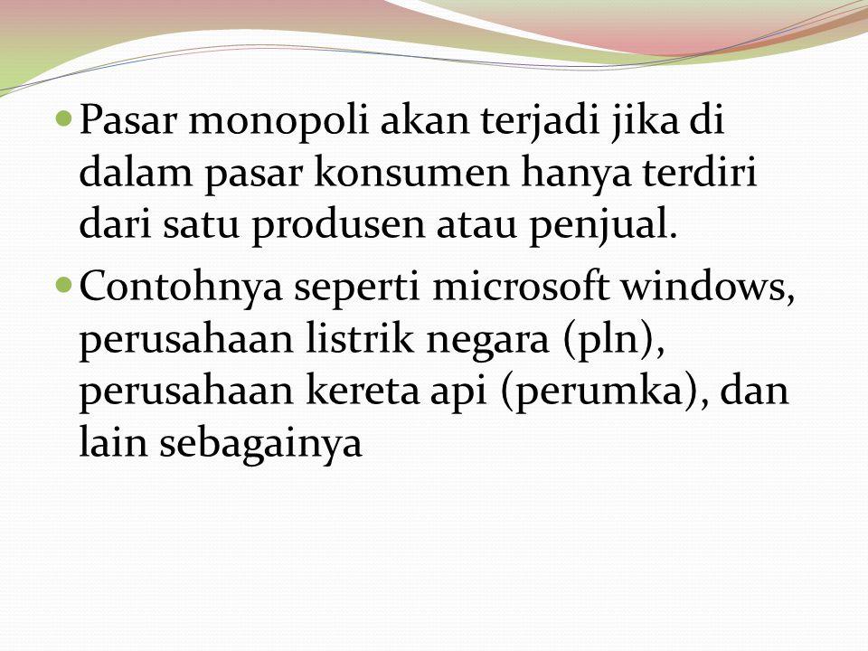 Pasar monopoli akan terjadi jika di dalam pasar konsumen hanya terdiri dari satu produsen atau penjual.