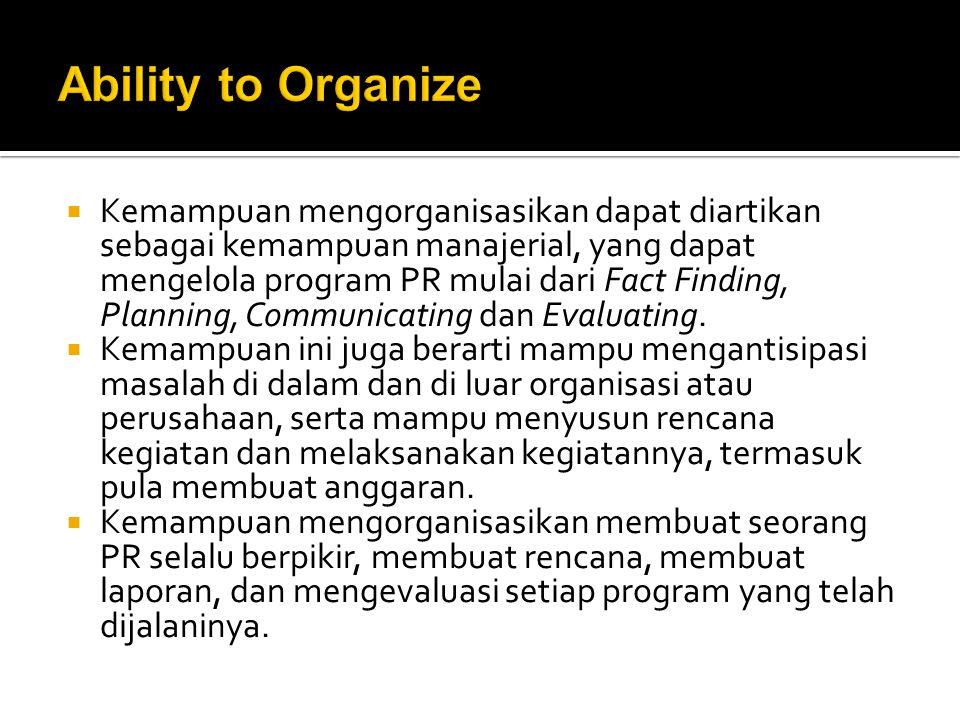 Ability to Organize