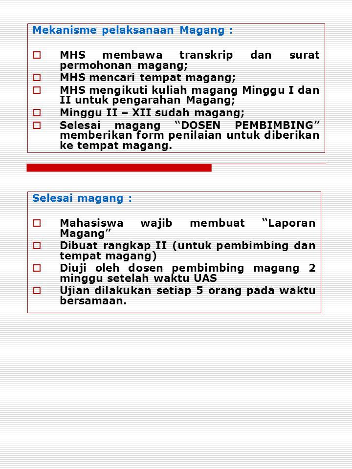 Mekanisme pelaksanaan Magang :
