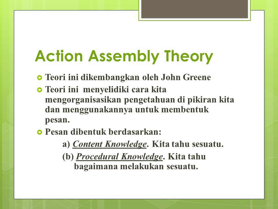 Action Assembly Theory