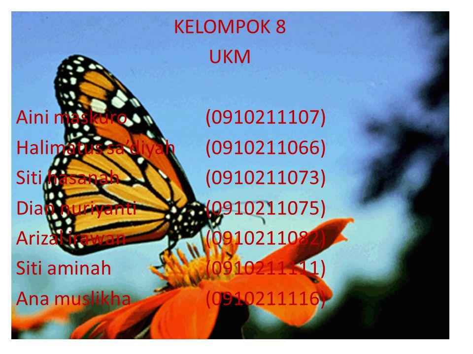 KELOMPOK 8 UKM. Aini maskuro (0910211107) Halimatus sa'diyah (0910211066) Siti hasanah (0910211073)