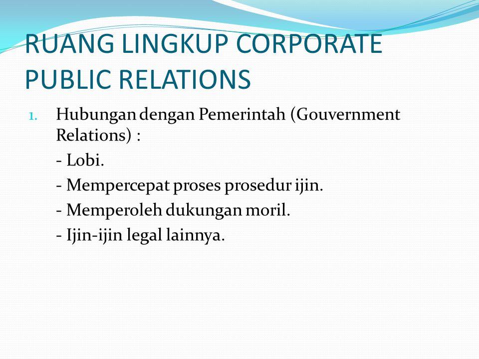 RUANG LINGKUP CORPORATE PUBLIC RELATIONS