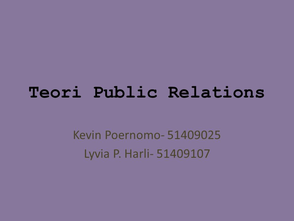 Teori Public Relations
