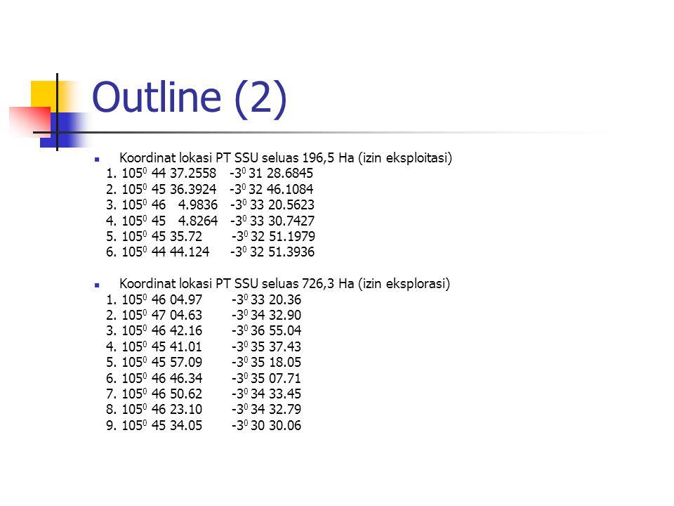 Outline (2) Koordinat lokasi PT SSU seluas 196,5 Ha (izin eksploitasi)