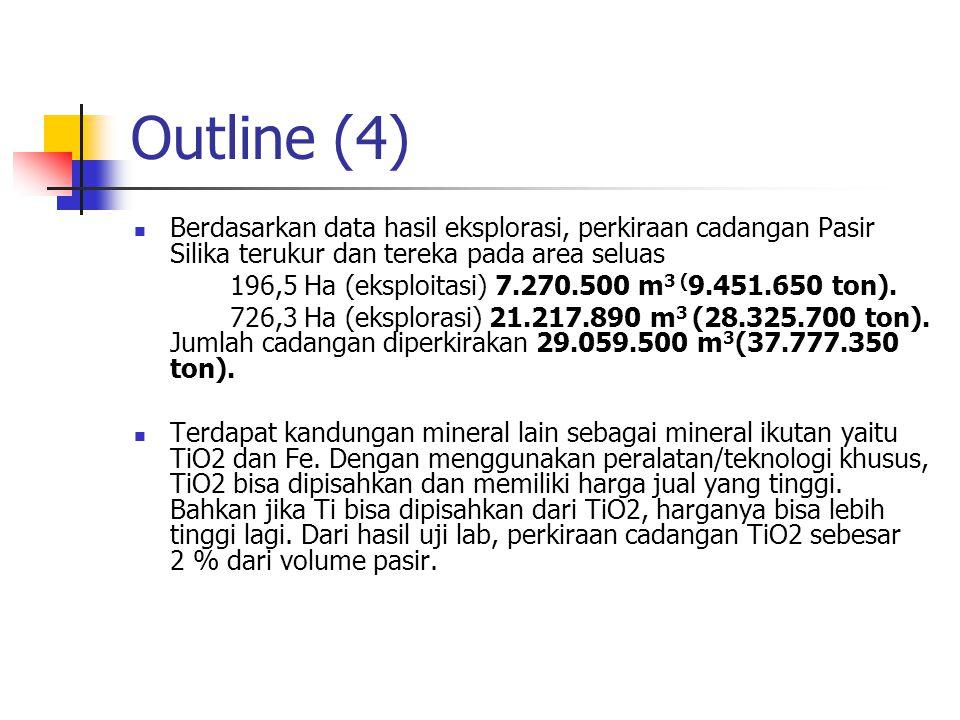 Outline (4) Berdasarkan data hasil eksplorasi, perkiraan cadangan Pasir Silika terukur dan tereka pada area seluas.