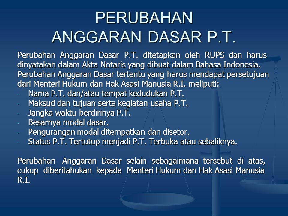 PERUBAHAN ANGGARAN DASAR P.T.