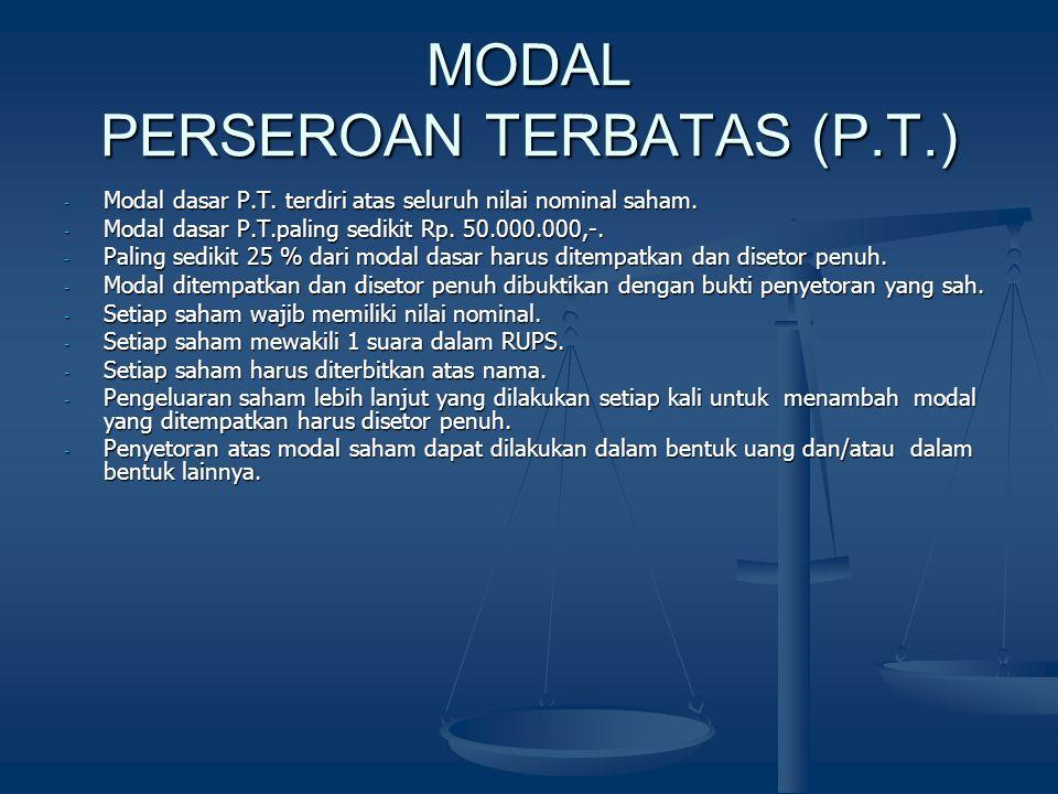 MODAL PERSEROAN TERBATAS (P.T.)