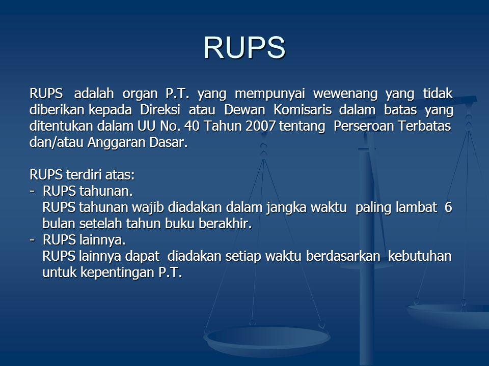 RUPS RUPS adalah organ P.T. yang mempunyai wewenang yang tidak