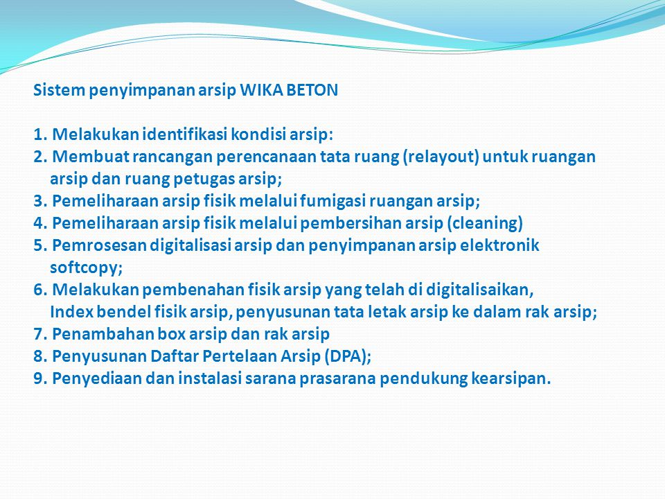 Sistem penyimpanan arsip WIKA BETON 1