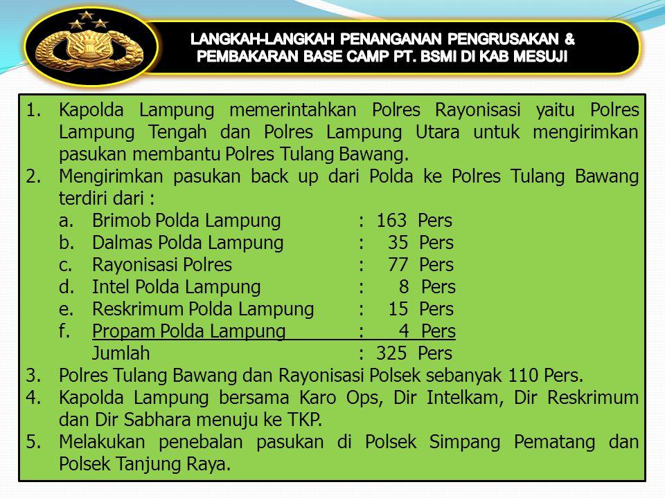Brimob Polda Lampung : 163 Pers Dalmas Polda Lampung : 35 Pers