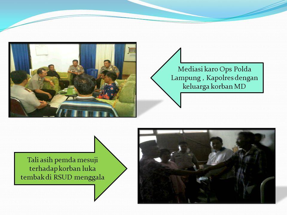 Mediasi karo Ops Polda Lampung , Kapolres dengan keluarga korban MD