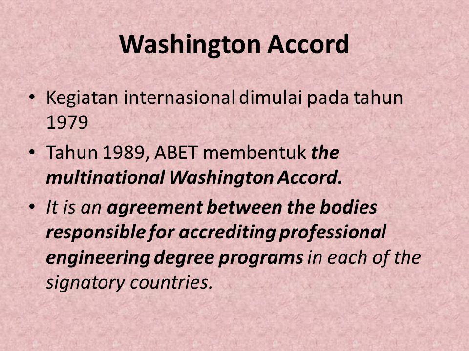 Washington Accord Kegiatan internasional dimulai pada tahun 1979