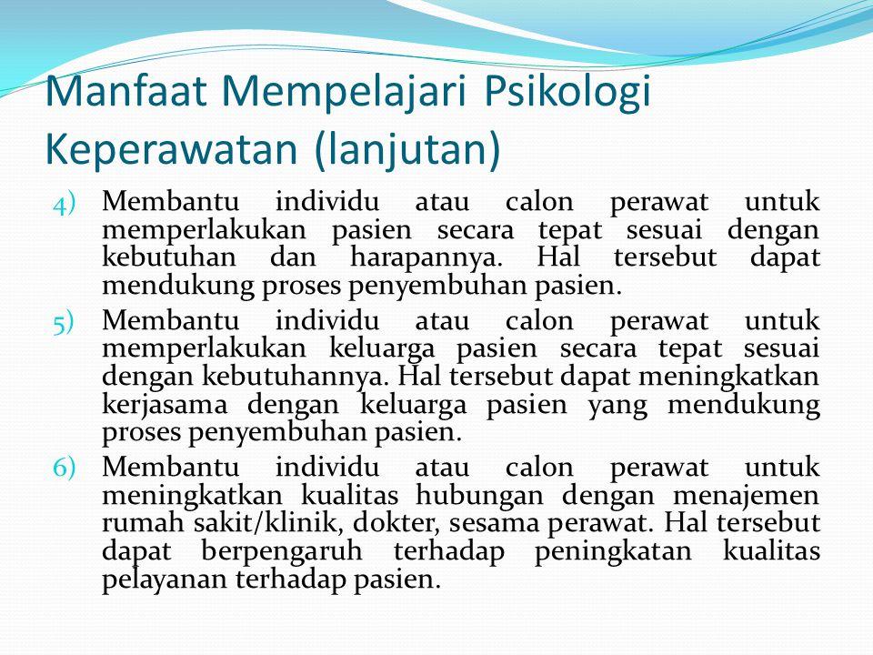 Manfaat Mempelajari Psikologi Keperawatan (lanjutan)
