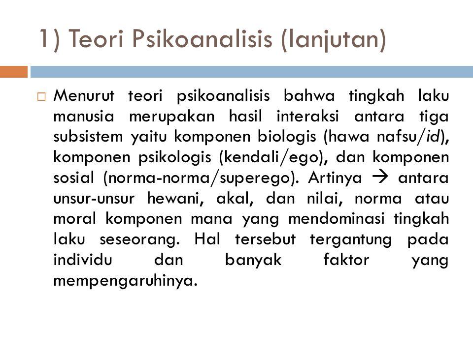 1) Teori Psikoanalisis (lanjutan)
