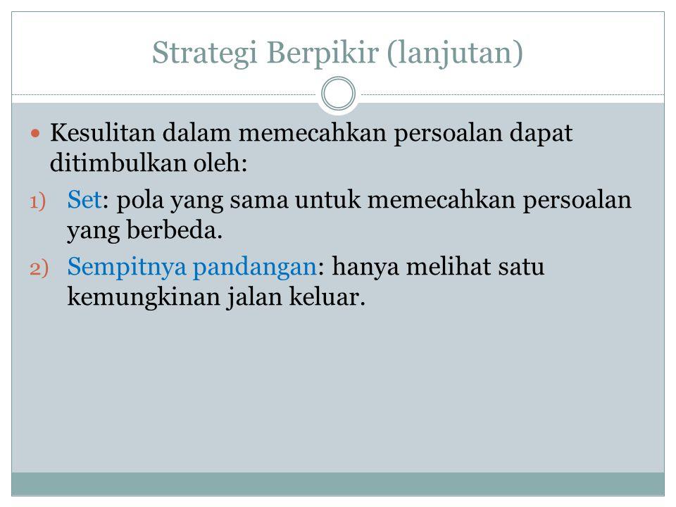 Strategi Berpikir (lanjutan)