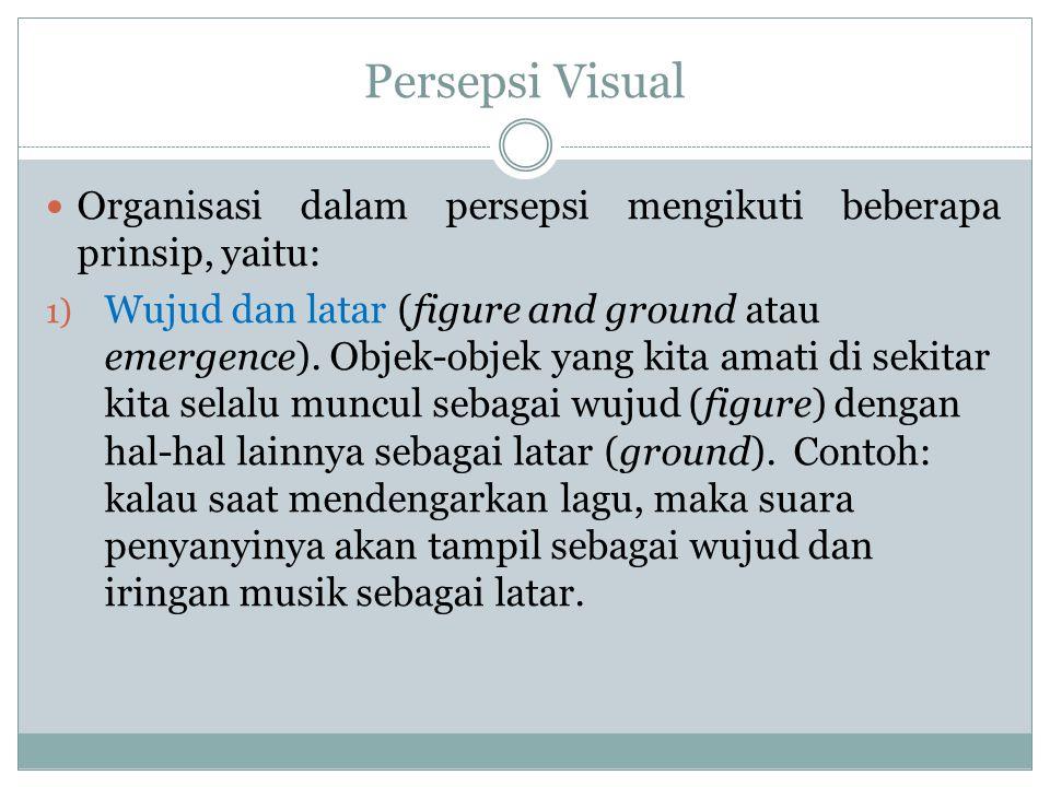 Persepsi Visual Organisasi dalam persepsi mengikuti beberapa prinsip, yaitu: