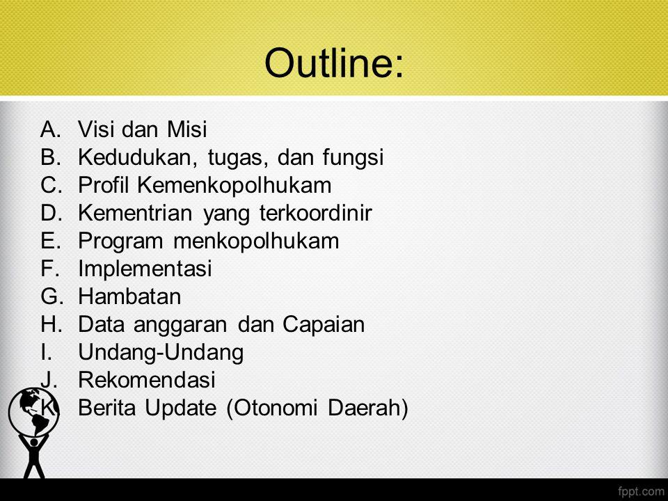Outline: Visi dan Misi Kedudukan, tugas, dan fungsi