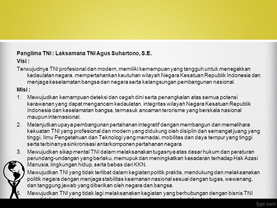 Panglima TNI : Laksamana TNI Agus Suhartono, S.E.