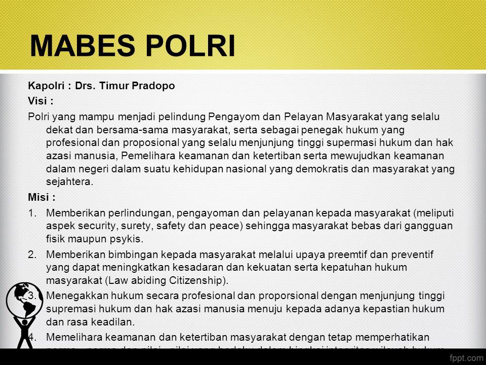 MABES POLRI Kapolri : Drs. Timur Pradopo Visi :