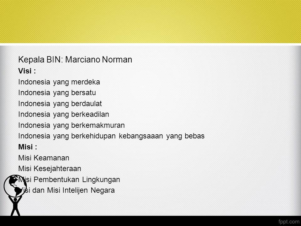 Kepala BIN: Marciano Norman