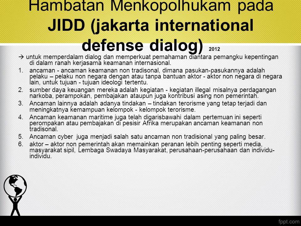 Hambatan Menkopolhukam pada JIDD (jakarta international defense dialog) 2012