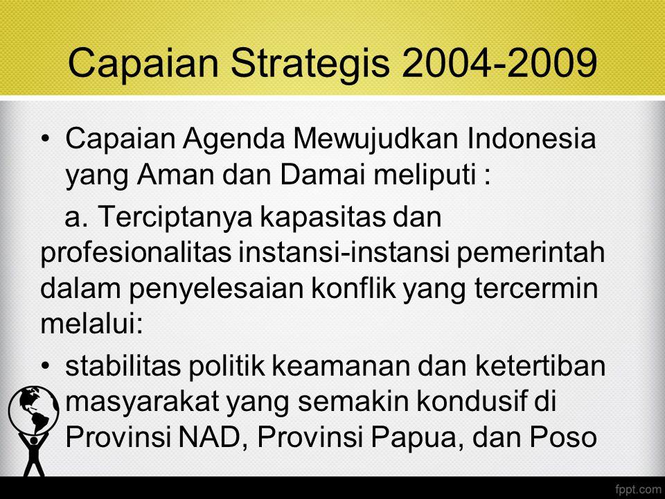 Capaian Strategis 2004-2009 Capaian Agenda Mewujudkan Indonesia yang Aman dan Damai meliputi :