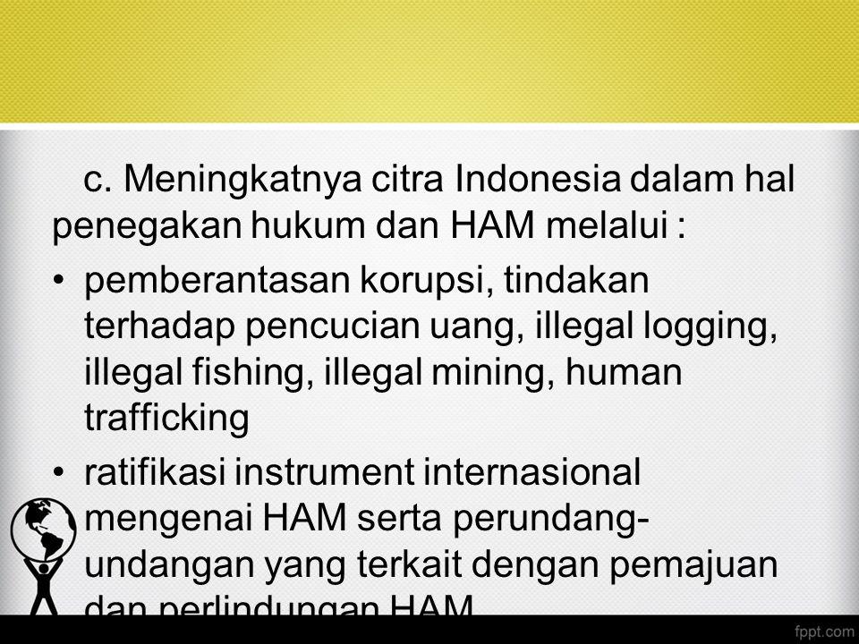 c. Meningkatnya citra Indonesia dalam hal penegakan hukum dan HAM melalui :