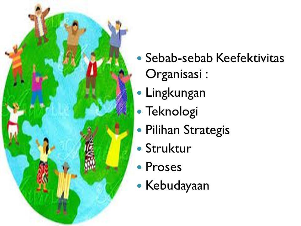 Sebab-sebab Keefektivitas Organisasi :