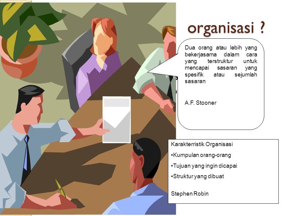 organisasi Karakterristik Organisasi : Kumpulan orang-orang