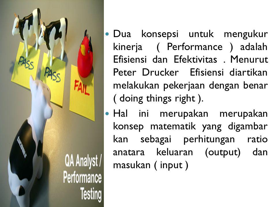 Dua konsepsi untuk mengukur kinerja ( Performance ) adalah Efisiensi dan Efektivitas . Menurut Peter Drucker Efisiensi diartikan melakukan pekerjaan dengan benar ( doing things right ).