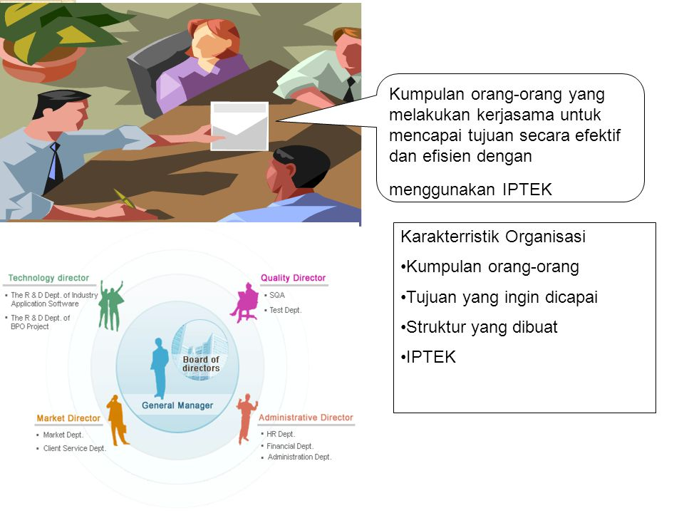 Kumpulan orang-orang yang melakukan kerjasama untuk mencapai tujuan secara efektif dan efisien dengan menggunakan IPTEK