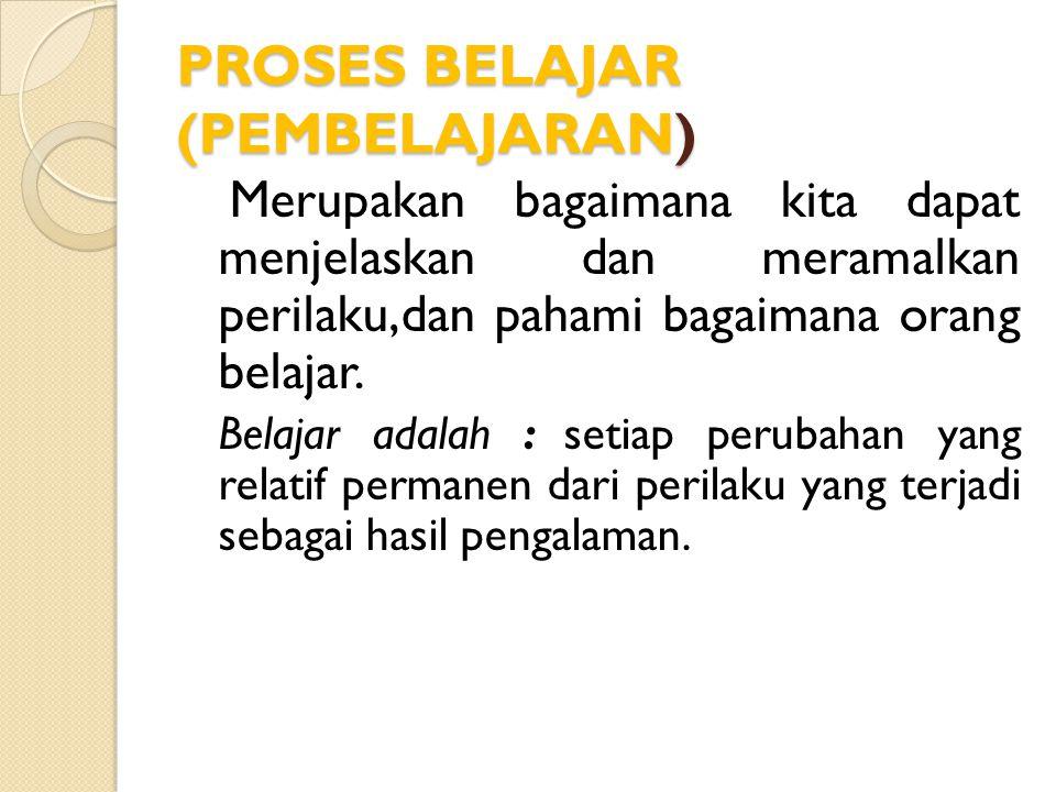 PROSES BELAJAR (PEMBELAJARAN)