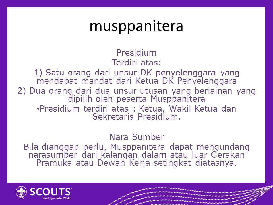 Presidium terdiri atas : Ketua, Wakil Ketua dan Sekretaris Presidium.