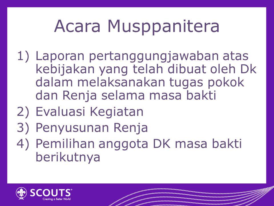 Acara Musppanitera Laporan pertanggungjawaban atas kebijakan yang telah dibuat oleh Dk dalam melaksanakan tugas pokok dan Renja selama masa bakti.