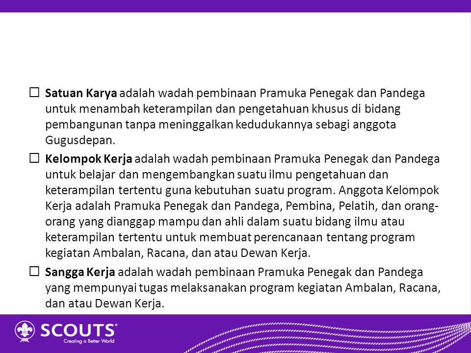 Satuan Karya adalah wadah pembinaan Pramuka Penegak dan Pandega untuk menambah keterampilan dan pengetahuan khusus di bidang pembangunan tanpa meninggalkan kedudukannya sebagi anggota Gugusdepan.
