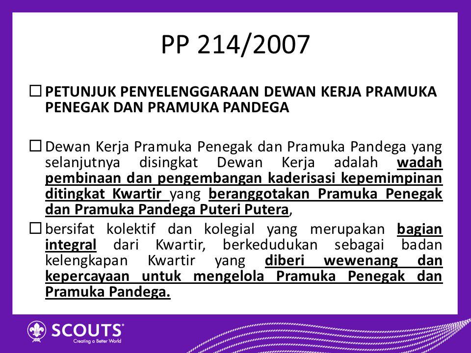 PP 214/2007 PETUNJUK PENYELENGGARAAN DEWAN KERJA PRAMUKA PENEGAK DAN PRAMUKA PANDEGA.