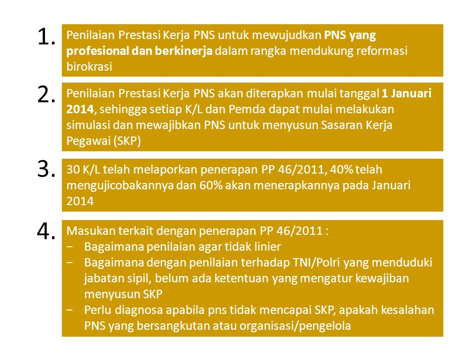 1. Penilaian Prestasi Kerja PNS untuk mewujudkan PNS yang profesional dan berkinerja dalam rangka mendukung reformasi birokrasi.