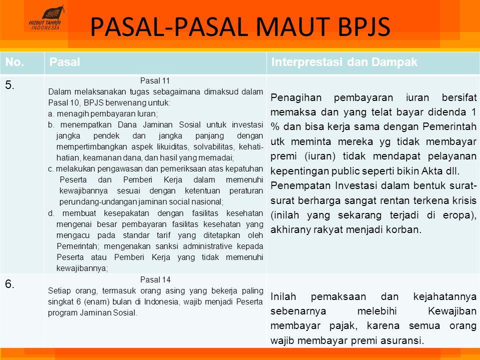 PASAL-PASAL MAUT BPJS No. Pasal Interprestasi dan Dampak 5. 6.