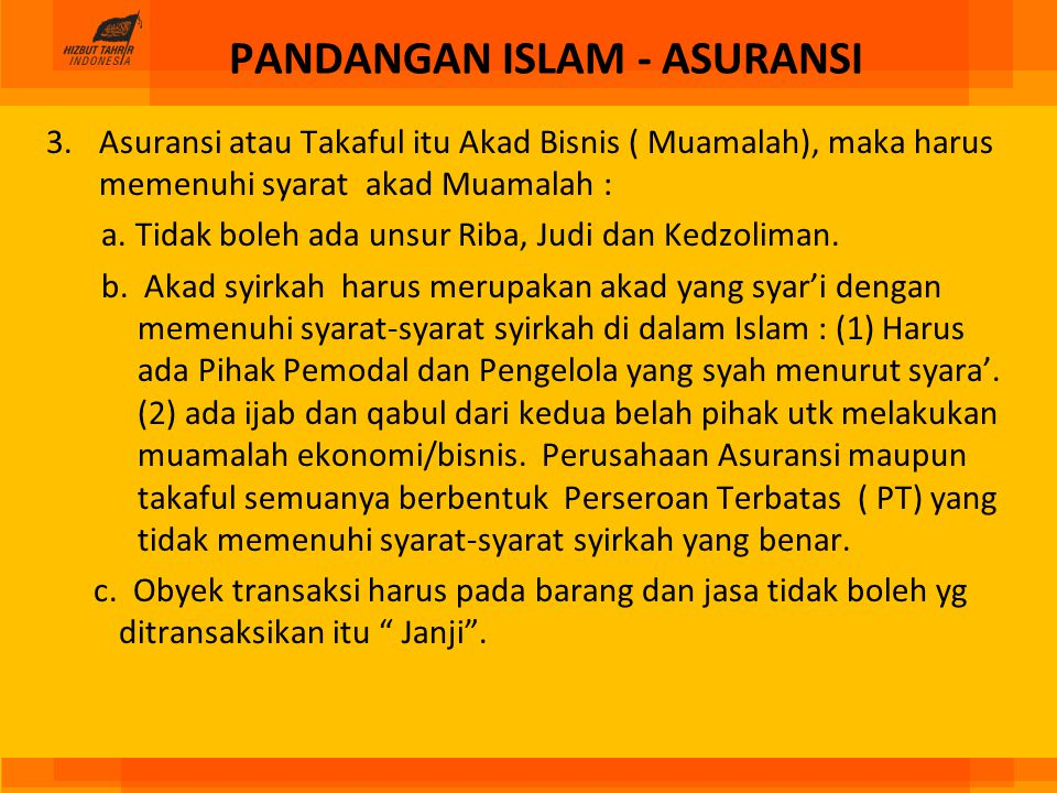 PANDANGAN ISLAM - ASURANSI